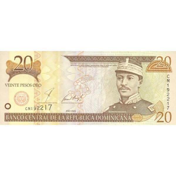 2001 - República Dominicana P166 billete 20 Pesos Oro