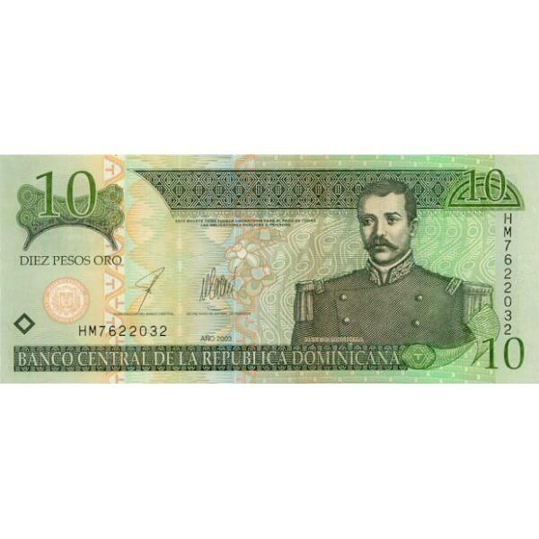 2003 - República Dominicana P168 billete 10 Pesos Oro
