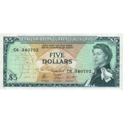 1965 - East Caribbean States  Pic 14  5 Dollars banknote