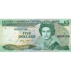 1986/88 - East Caribbean States  Pic18g 5 Dollars banknote