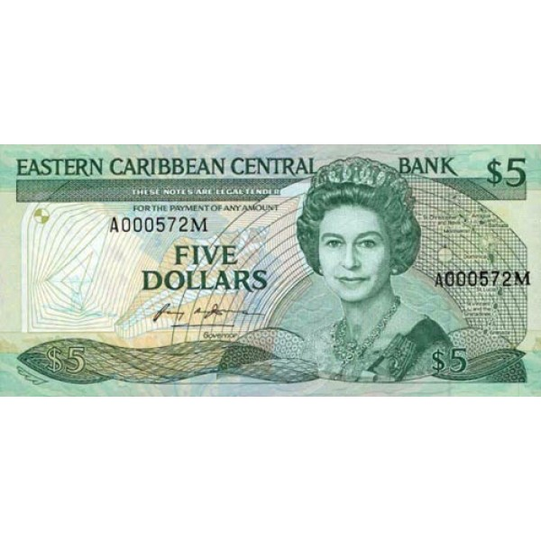 1986/88 - East Caribbean States  Pic18m 5 Dollars banknote
