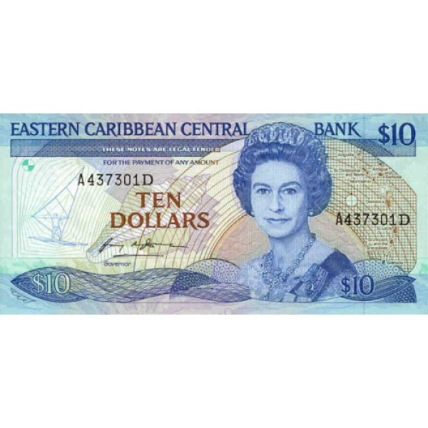 1985/93 - East Caribbean States  Pic 23d 10 Dollars banknote