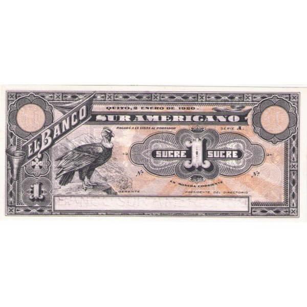 1920 - Ecuador P-S251r 1 Sucre banknote