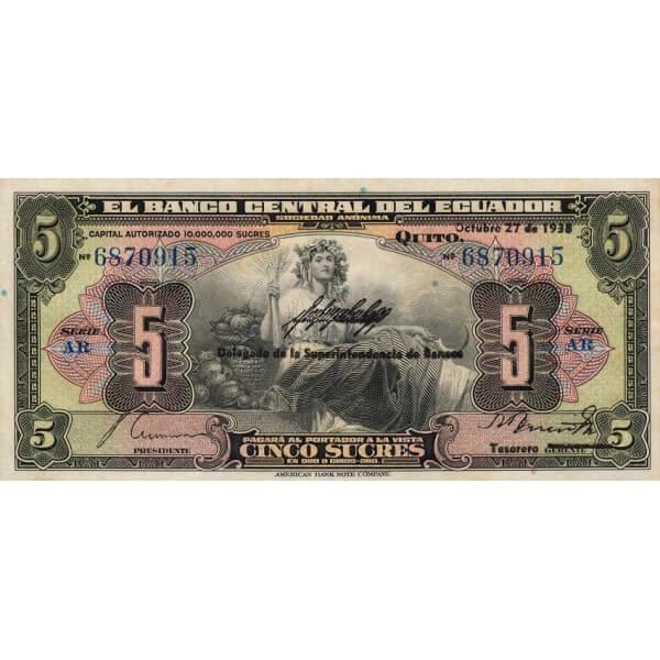 1938 - Ecuador P84b billete de 5 Sucres