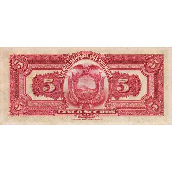 1938 - Ecuador P84b 5 Sucres banknote