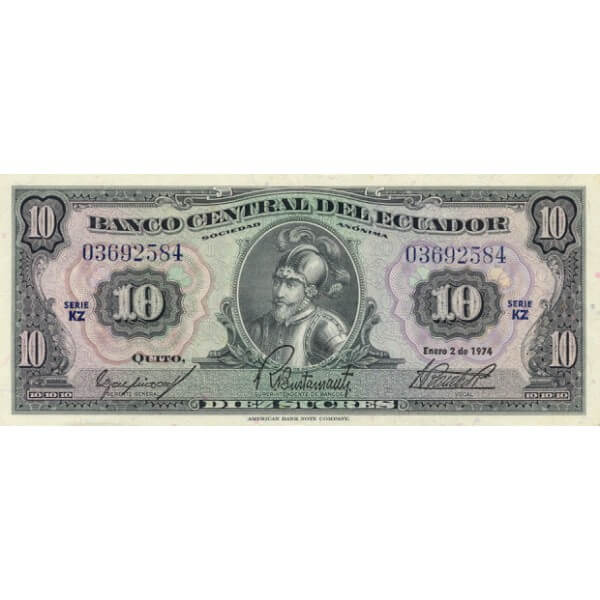 1974 - Ecuador P101Ab 10 Sucres banknote