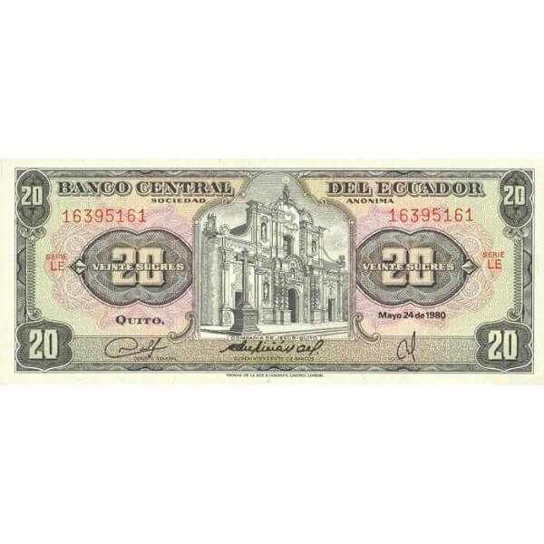 1983 - Ecuador P115b billete de 20 Sucres