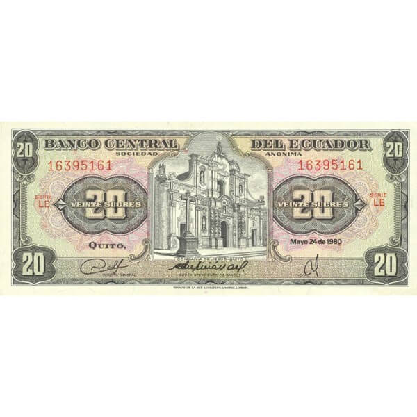 1983 - Ecuador P115b 20 Sucres banknote