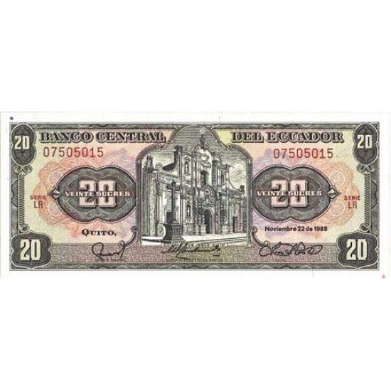 1988 - Ecuador P121A 20 Sucres banknote