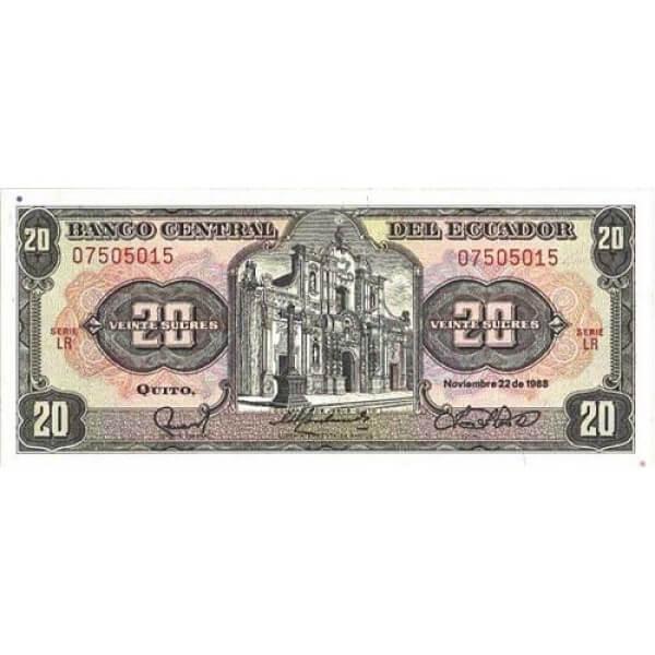 1988 -  Ecuador P121A billete de 20 Sucres
