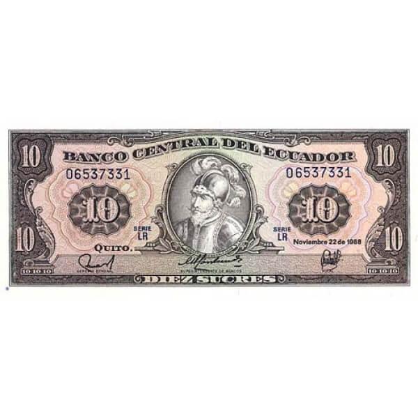 1988 - Ecuador P121a billete de 10 Sucres