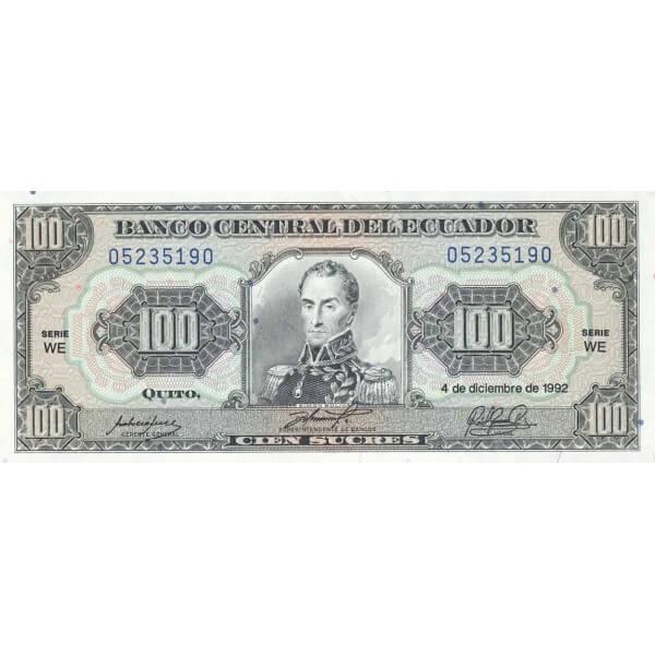 1992 - Ecuador P123Ab billete de 100 Sucres