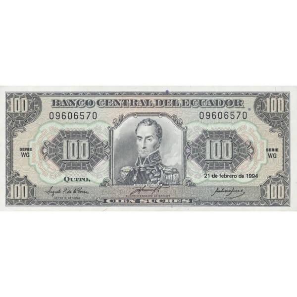 1994 - Ecuador P123Ac billete de 100 Sucres