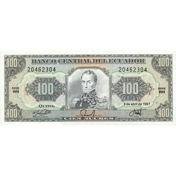 1997 - Ecuador P123Ad billete de 100 Sucres