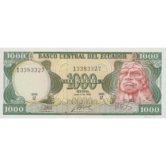 1988 - Ecuador P125b 1,000 Sucres banknote