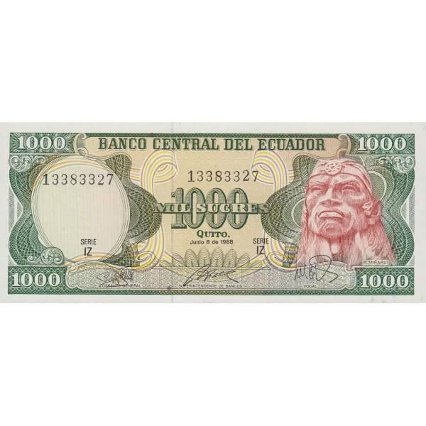 1988 - Ecuador P125b billete de 1.000 Sucres