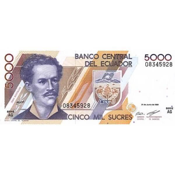 1999 - Ecuador P128a 5,000 Sucres banknote