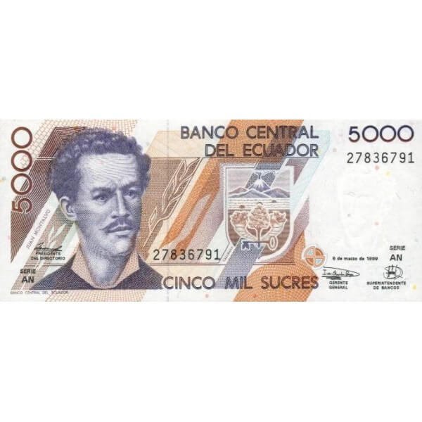 1999 - Ecuador P128c 5,000 Sucres banknote