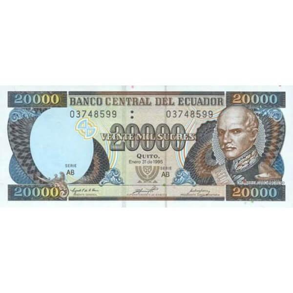 1999 - Ecuador P129f billete de 20.000 Sucres