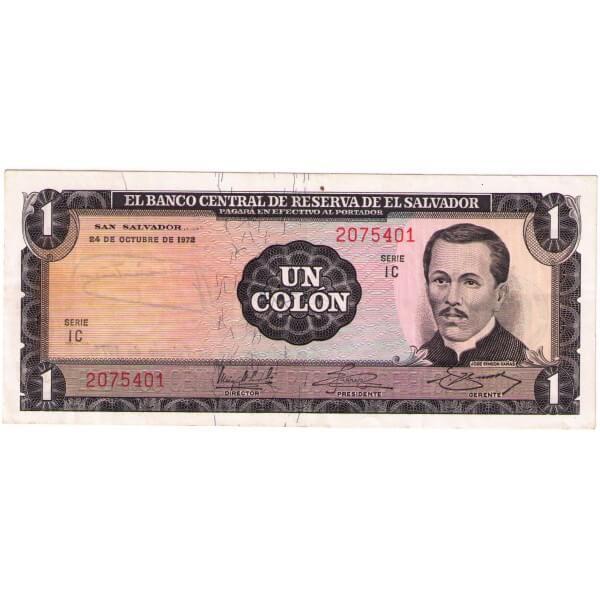 1972 - El Salvador P115 billete de 1 Colón Usado EBC