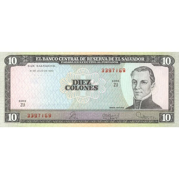 1980 - El Salvador P129b billete de 10 Colones