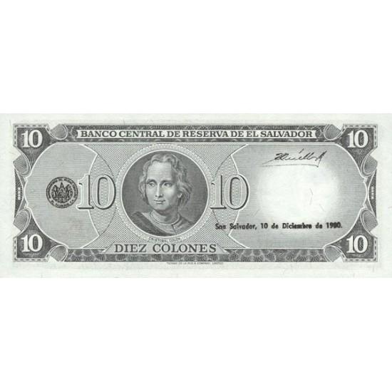 1980 - El Salvador P129b 10 Colones banknote