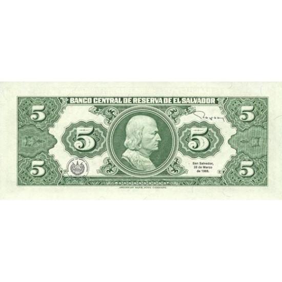 1983 - El Salvador P134a 5 Colones banknote