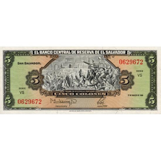 1988 - El Salvador P134b 5 Colones banknote