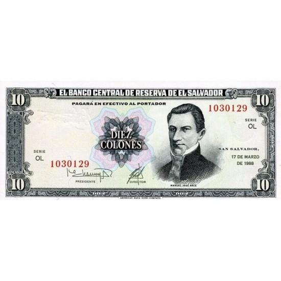 1988 - El Salvador P135b 10 Colones banknote