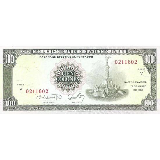 1988 - El Salvador P137b 100 Colones banknote
