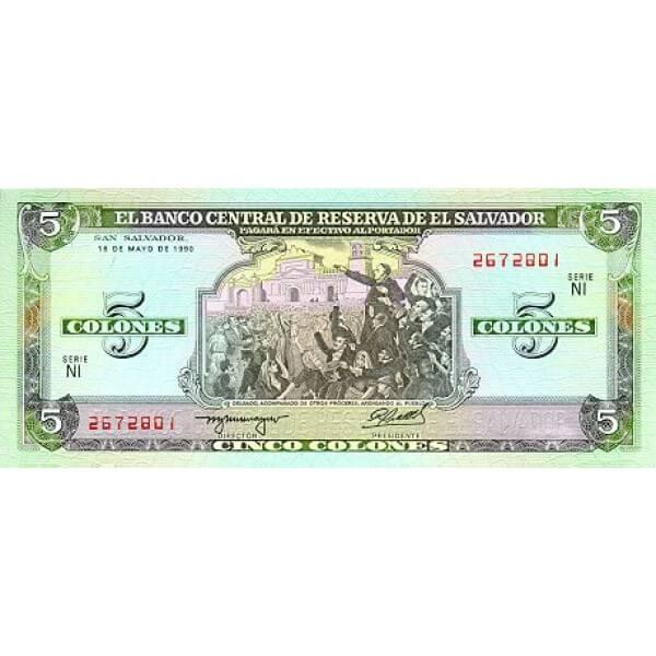 1990 - El Salvador P138 5 Colones banknote