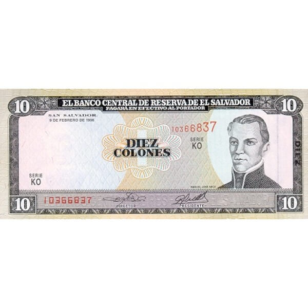 1996 - El Salvador P144 billete de 10 Colones