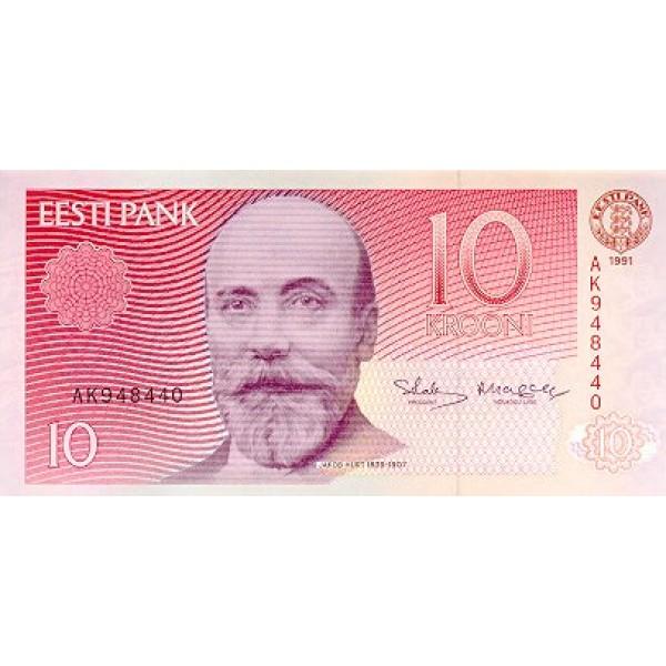 1991 - Estonia Pic 72 a    10 Krooni  banknote