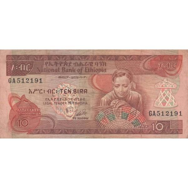 1976 - Ethiopia pic 32b billete  10 Birr