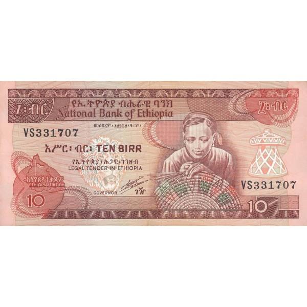 1991 - Ethiopia pic 43b billete  10 Birr