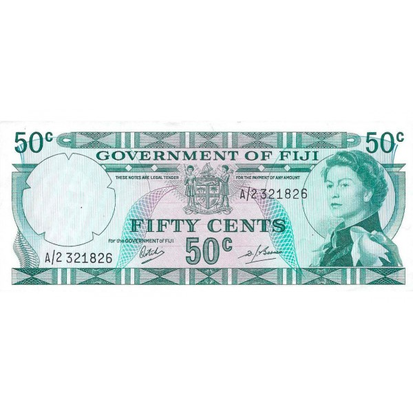 1969 - Fiji Islands P58a 50 Cents banknote