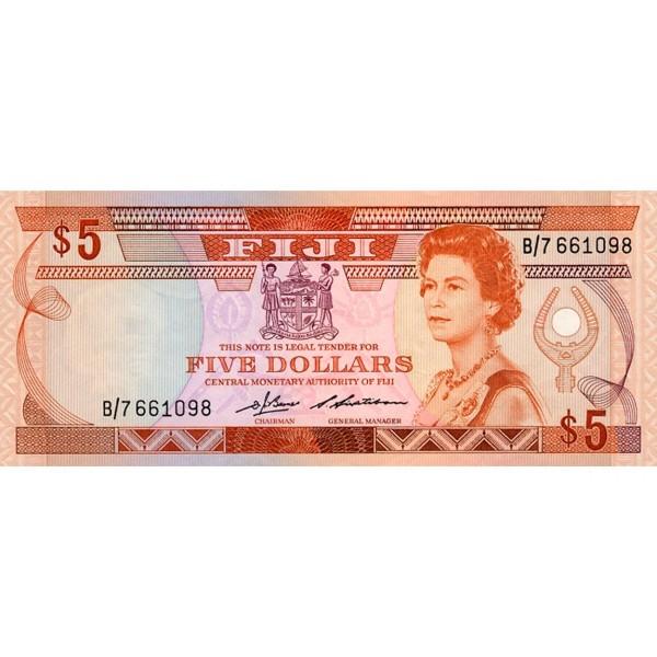 1986 - Islas Fiji P83a billete de 5 Dólares