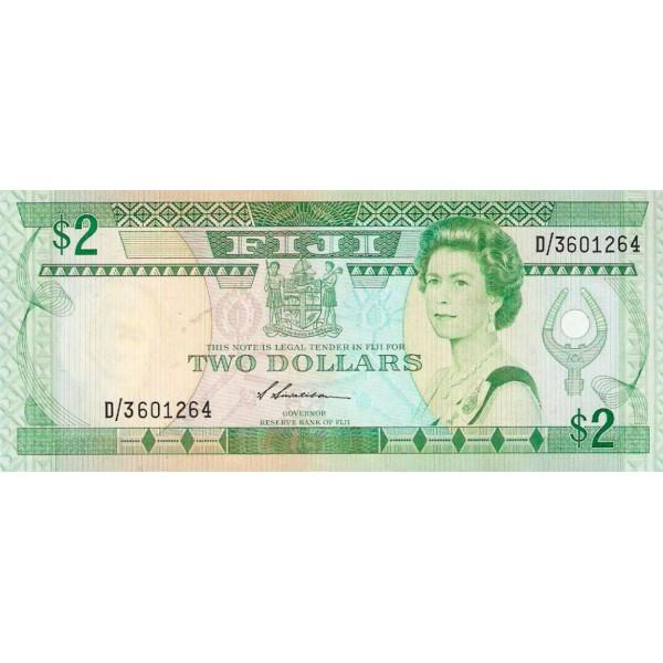 1988 - Islas Fiji Pic 87a billete de 2 Dólares