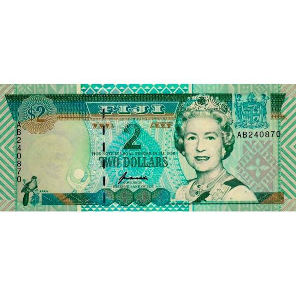1996 - Islas Fiji P96b billete de 2 Dólares