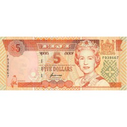 1995 - Fiji Islands P97a 5 Dollars banknote