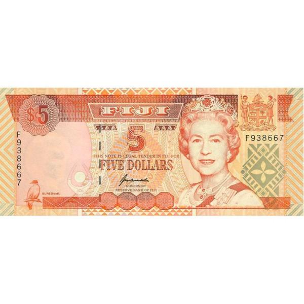 1995 - Islas Fiji P97a billete de 5 Dólares