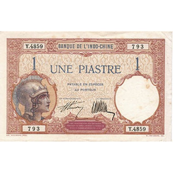 1927 - French Indochina   PIC  48b      1 Piastra  Banknote