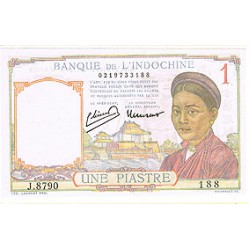1949 - French Indochina   PIC  54  d    1 Piastra AU Banknote