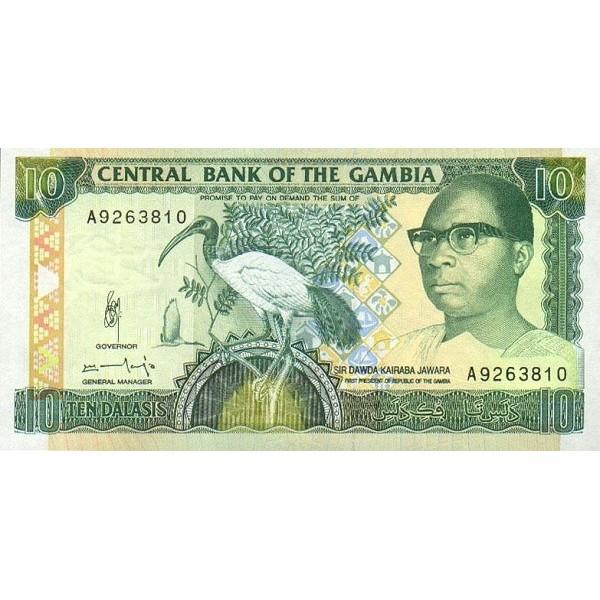 1991/95 -  Gambia PIC 13b  10 Dalasis f11  banknote