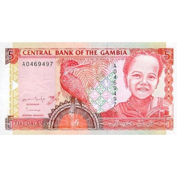 1996 -  Gambia PIC 16   5 Dalasis   banknote