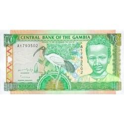 1996 -  Gambia PIC 17a   10 Dalasis f12  banknote