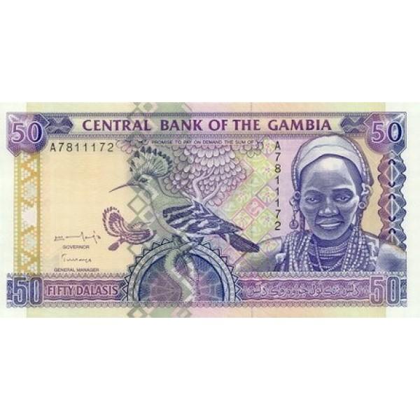 1996 -  Gambia PIC 19  billete de   50 Dalasis  f12
