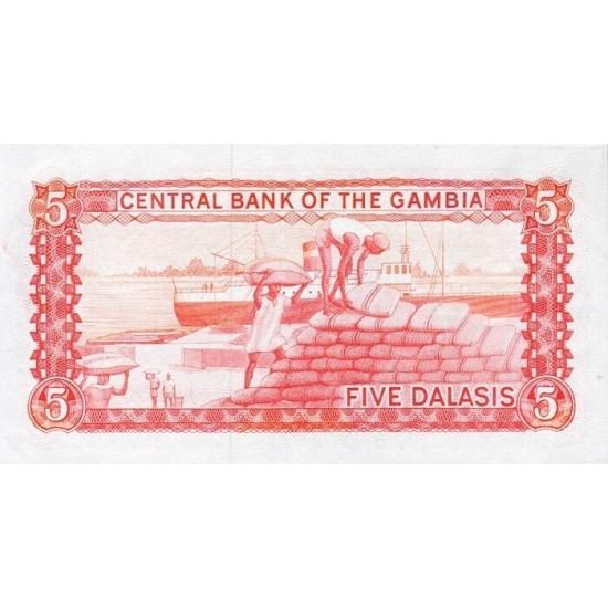 1987/90 -  Gambia PIC 9b   5 Dalasis f10  banknote