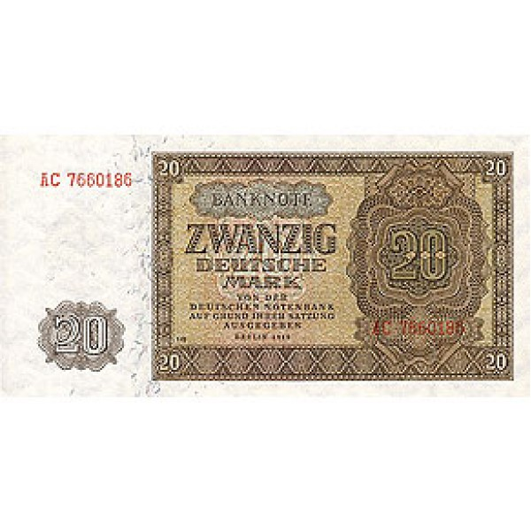 1948 - Germany D. Rep. Pic 13b    20 D. Marks  banknote
