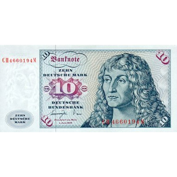 1980 - German Fed .Rep.PIC 31a     10 D. Marks F banknote